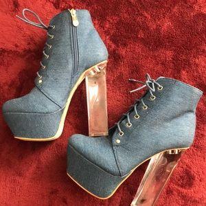 Denim platform heels